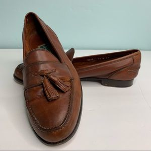Cole Haan Brown Leather Tassel Loafers,  Men's 10